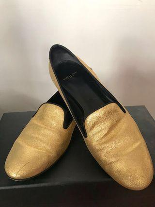 Saint Laurent gold leather loafers shoes with box