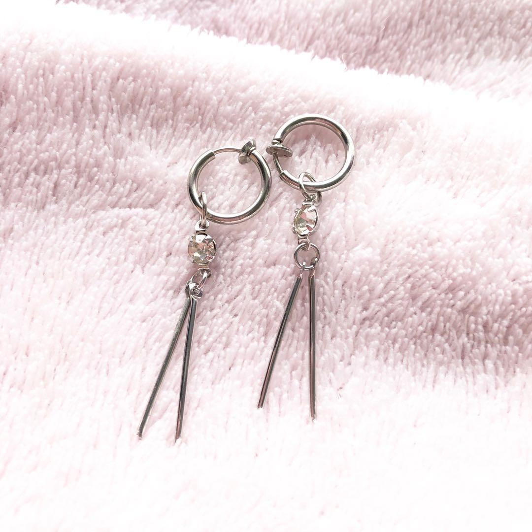 全新 仿鑽夾耳環 clip on earrings流蘇耳環