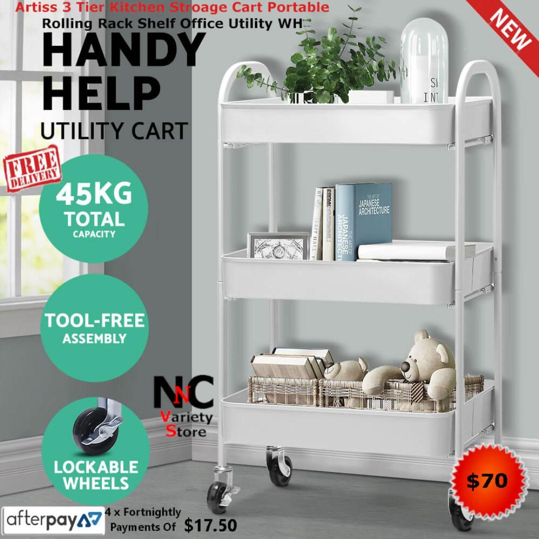Artiss 3 Tier Kitchen Stroage Cart