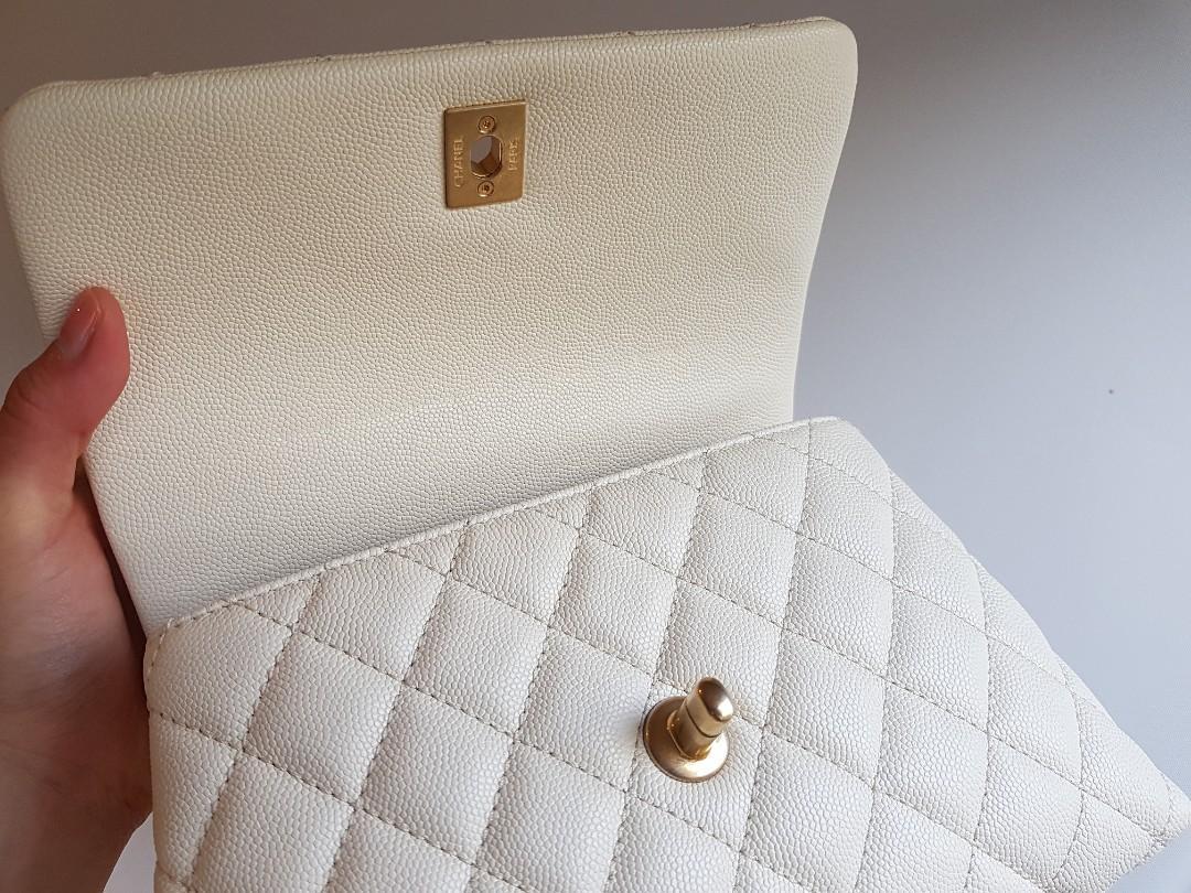 Authentic Chanel cocohandle flap bag white mini (ivory)