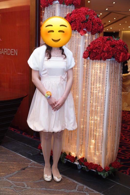 米色姊妹裙/宴會裙/謝師宴裙Beige bridemaid dress/party dress/dress for graduation dinner