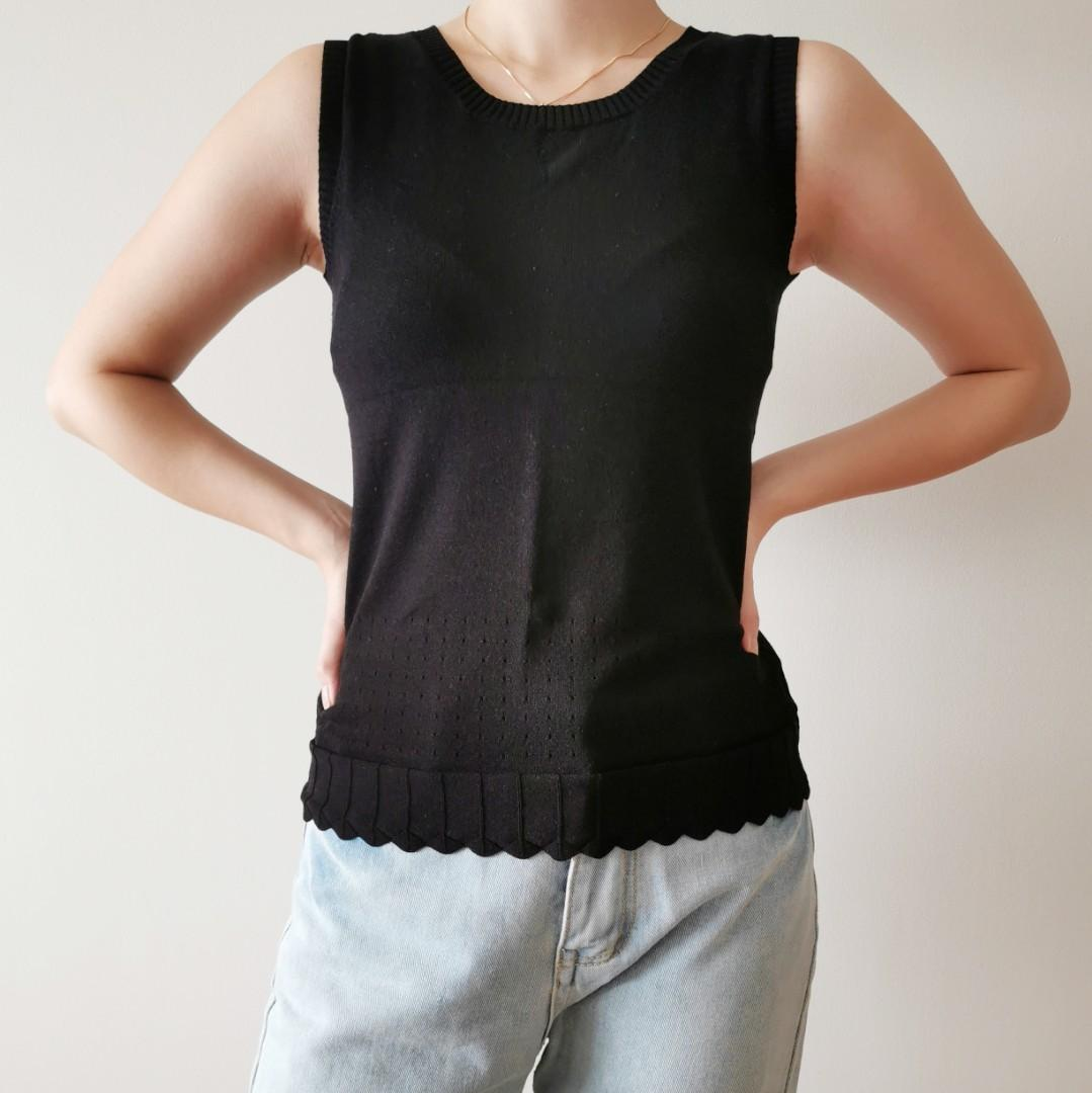 Black Knit Top with Scallop Detail
