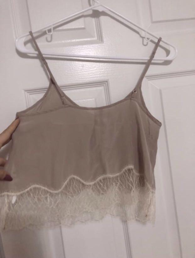 BNWT Aritzia Wilfred Silk Dusty Rose Tank with Lace