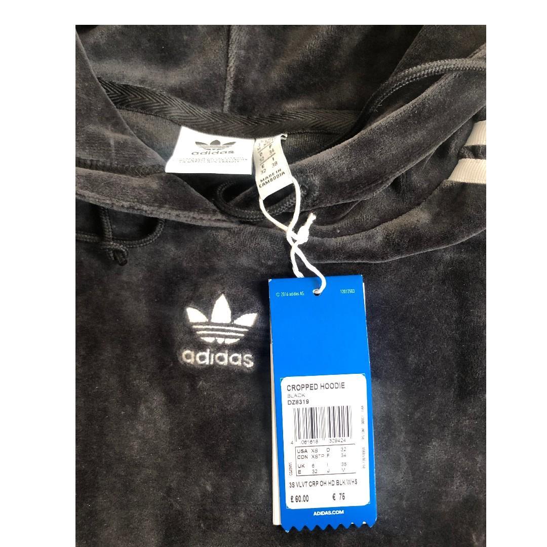 Brand New Adidas Originals Womens Velvet hooded Jumper Active Yeezy