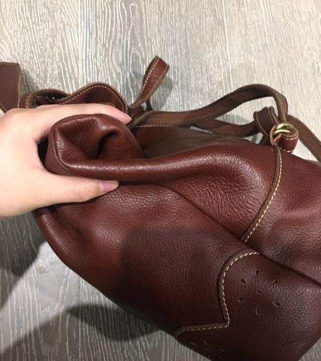 Brown genuine leather bucket backpack
