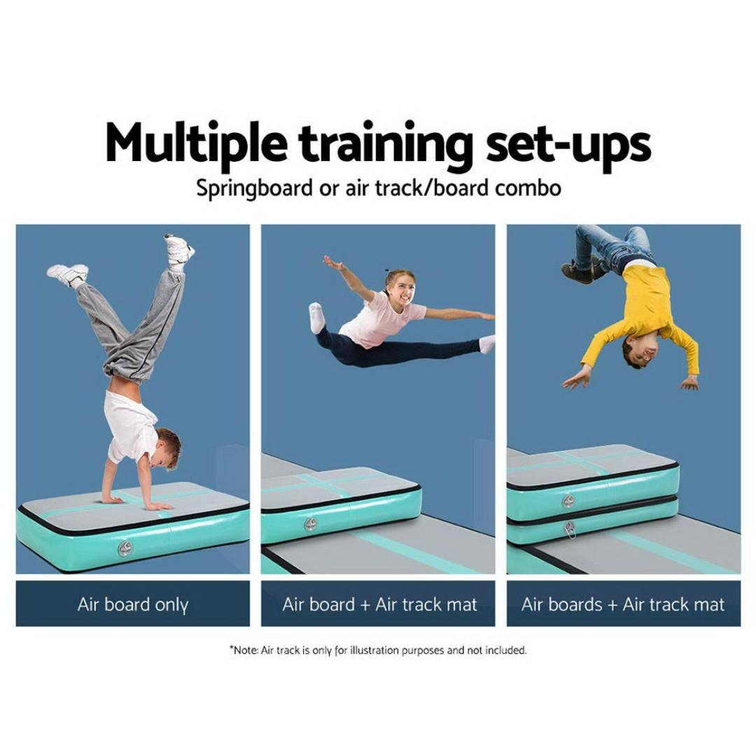 Everfit 1M Airtrack Inflatable Air Track Board Tumbling Mat Floor Gym Block Mint