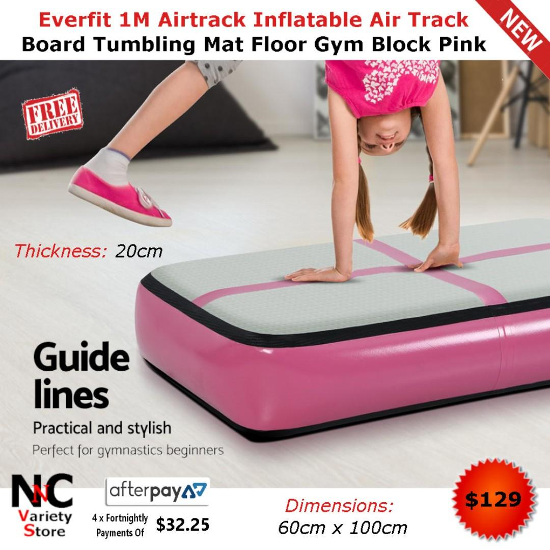 Everfit 1M Airtrack Inflatable Air Track Board Tumbling Mat Floor Gym Block Pink