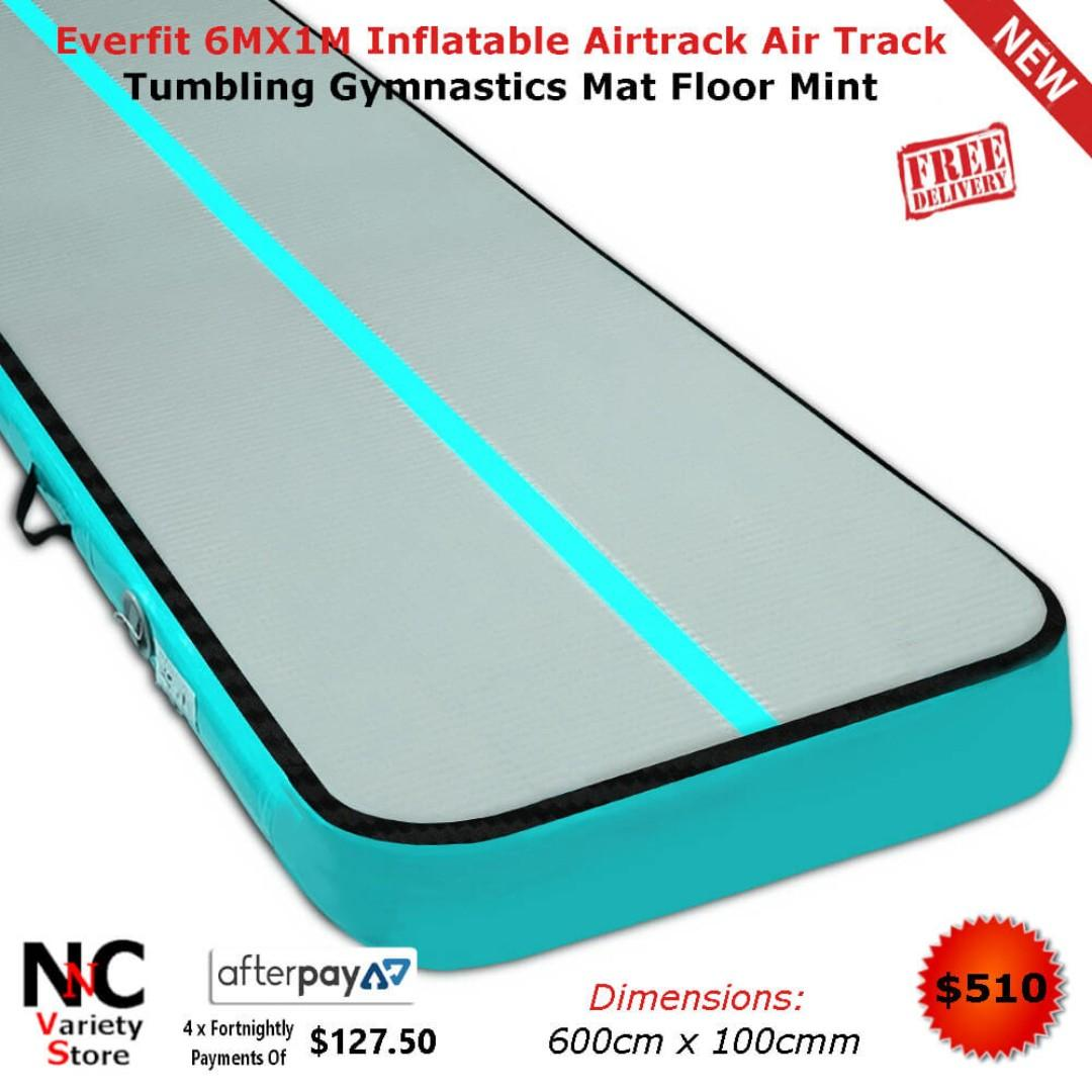 Everfit 6MX1M Inflatable Airtrack Air Track Tumbling Gymnastics Mat Floor Mint