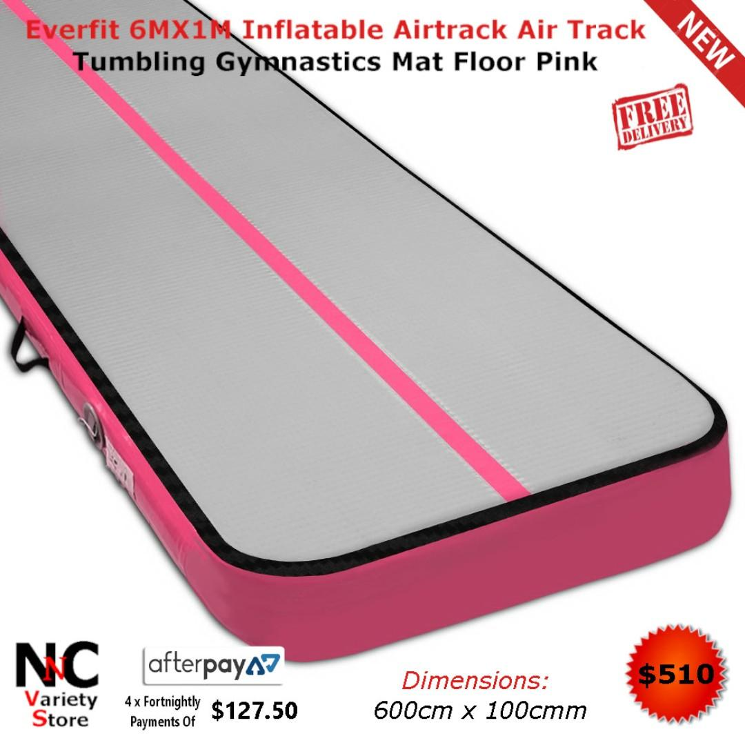 Everfit 6MX1M Inflatable Airtrack Air Track Tumbling Gymnastics Mat Floor Pink