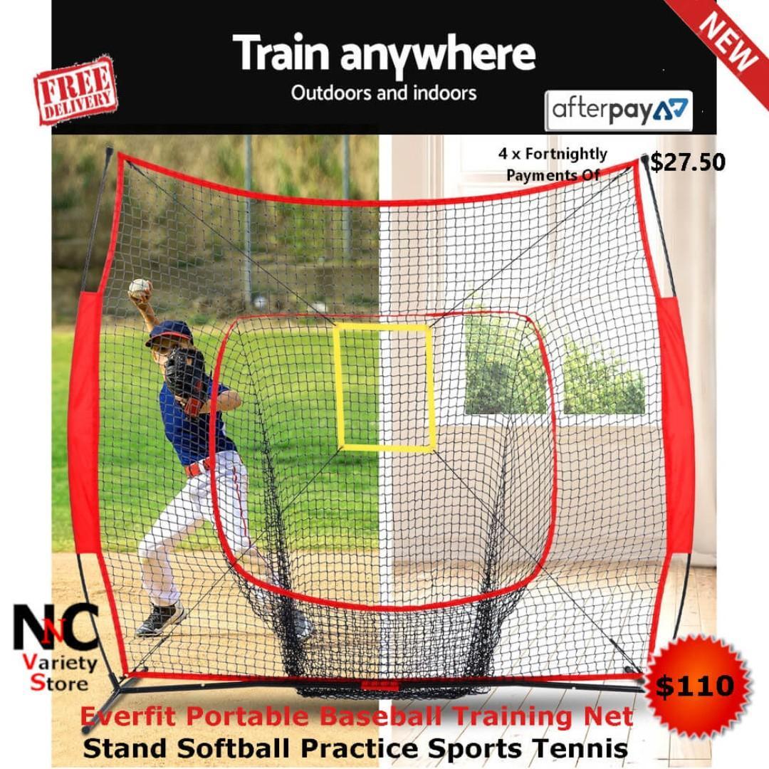 Everfit Portable Baseball Training Net Stand Softball Practice Sports Tennis