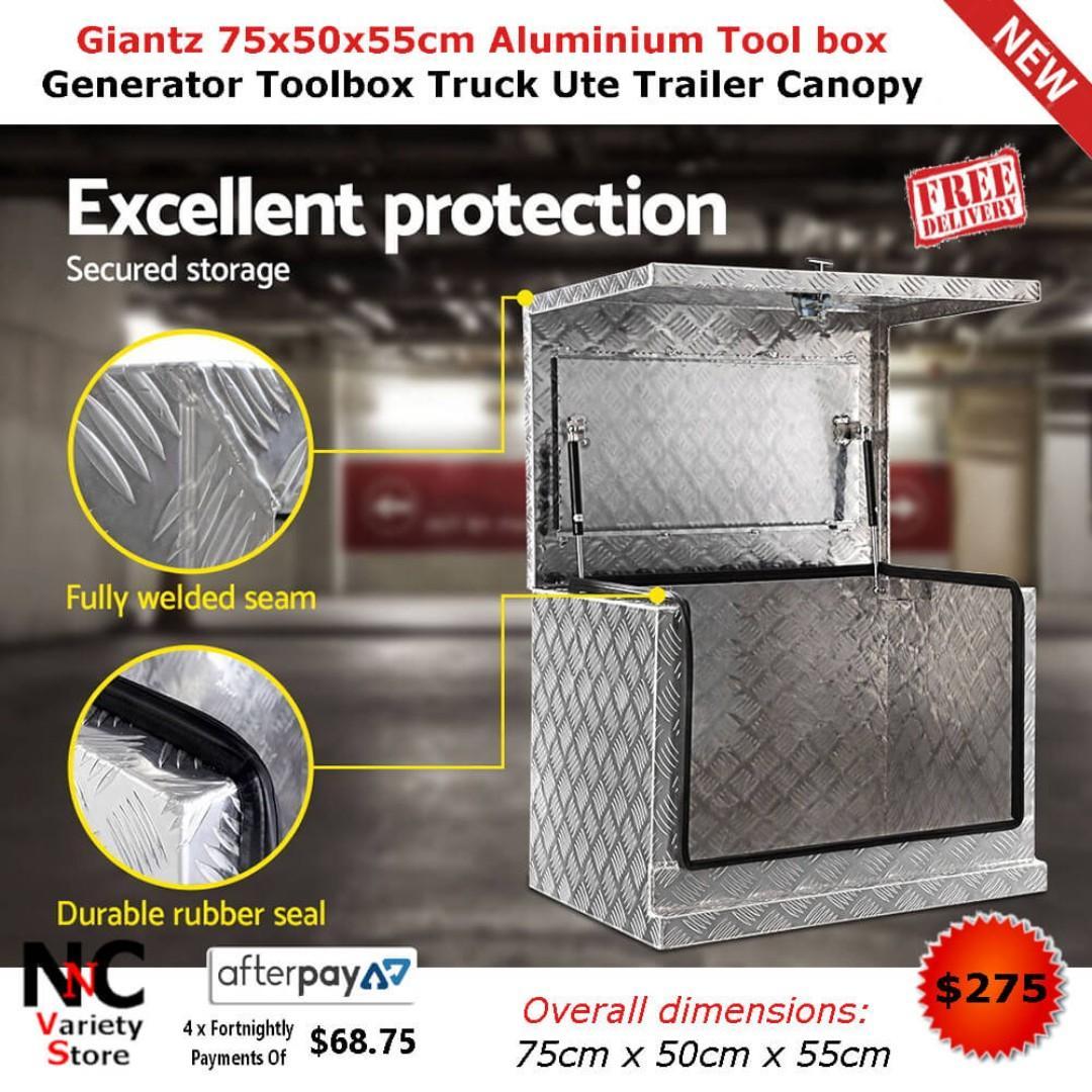 Giantz 75x50x55cm Aluminium Tool box Generator Toolbox Truck Ute Trailer Canopy