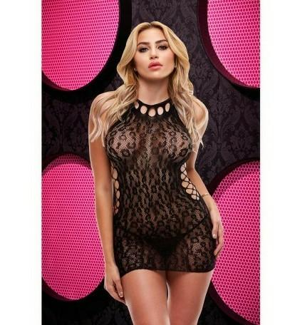Hot Black Leopard Lace Stretch Stocking Dress Boxed by Lapdance One Size