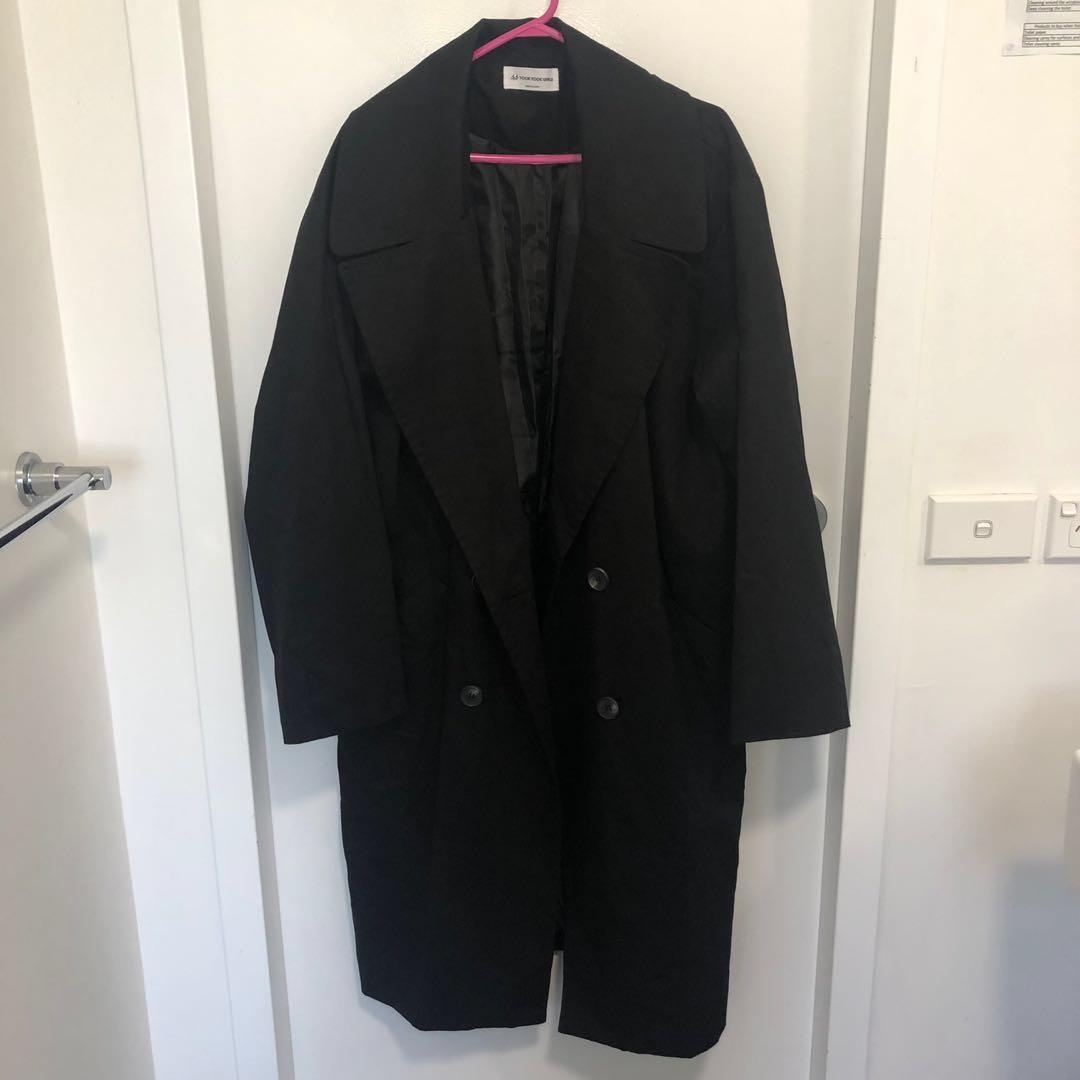 KOREAN STYLE LONG BLACK WIDE COLLAR DOUBLE BREASTED COAT