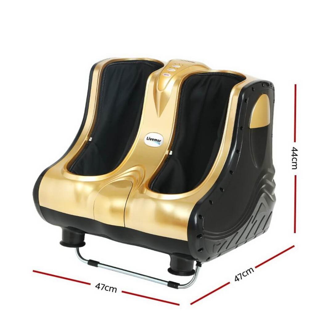 Livemor 3D Foot Massager Machine Ankle Calf Leg Shiatsu Kneading Rolling Gold