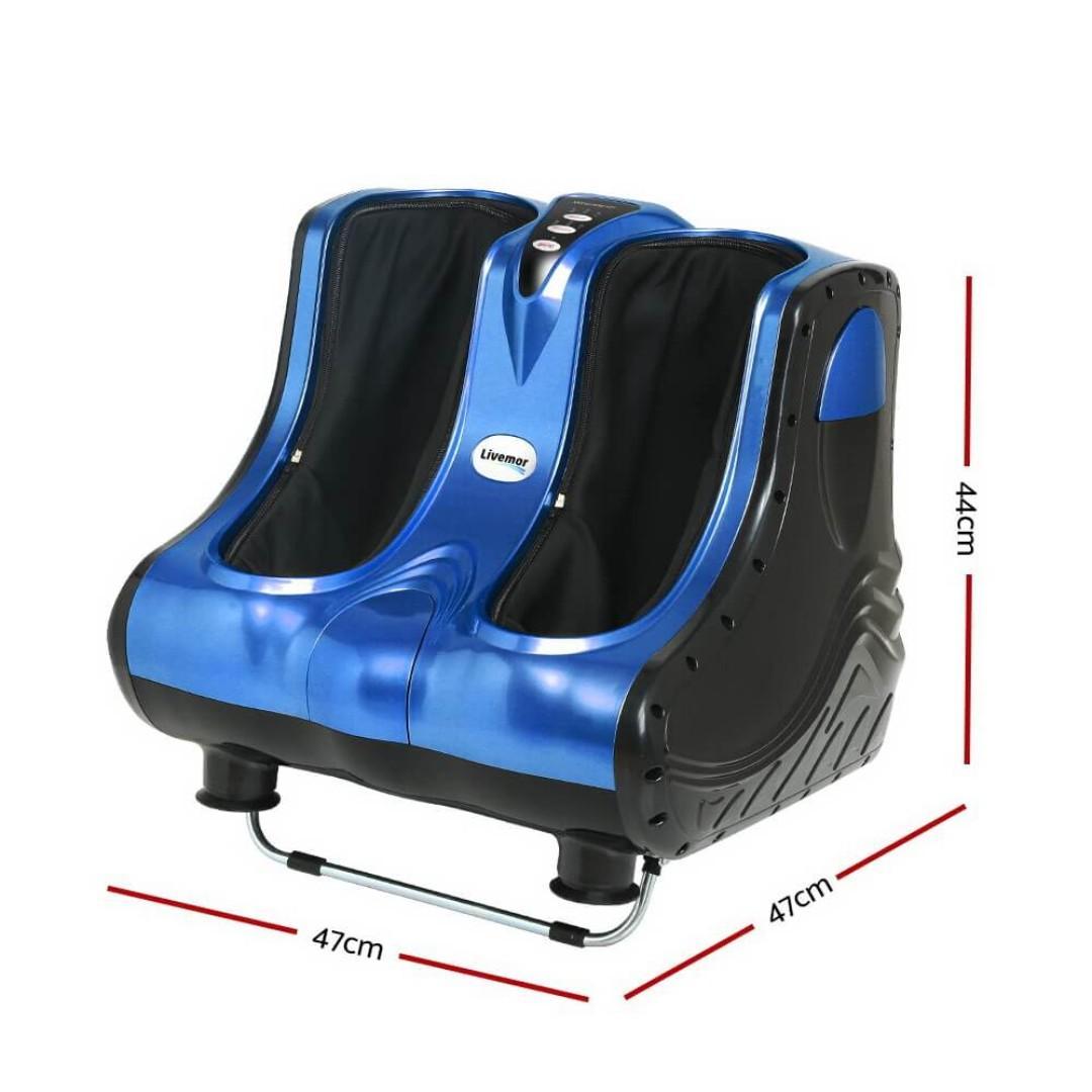 Livemor 3D Foot Massager Roller Machine Ankle Calf Leg Shiatsu Kneading Blue