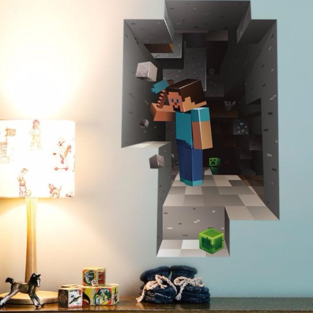 Minecraft Diy Wall Decor Minimalist Decal Mural Vinyl Sticker