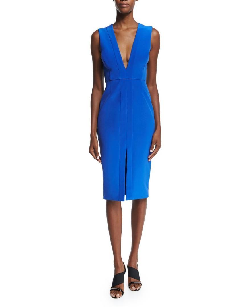 NICHOLAS THE LABEL Sleeveless V-Neck Sheath Dress, Royal (Size 8)