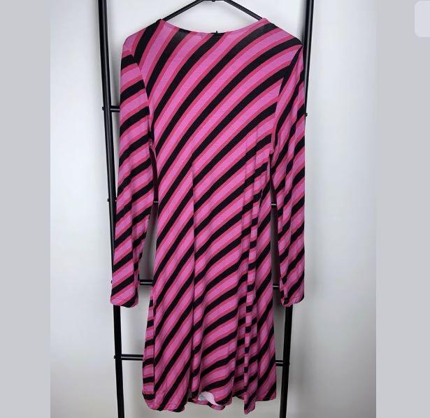 NWT Barbara Hulanicki George 12 pink diagonal stripe wrap dress stretch casual