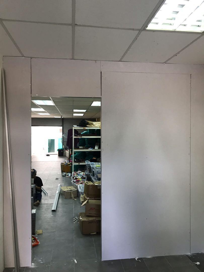 Partition Drywall Cat Putih Untuk Bilik Rumah Sewa, Lot Kedai, Pejabat