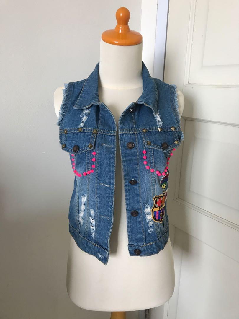 Pink Studded Streetstyle Denim Vest