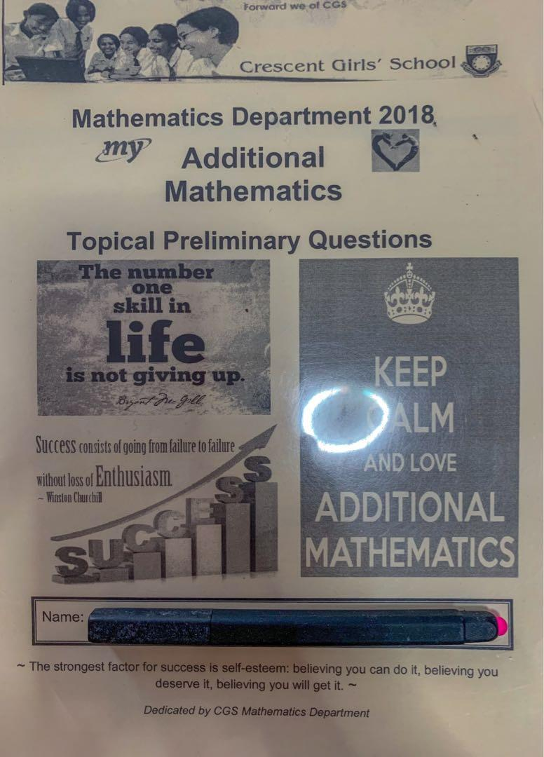 Prelim exam papers , add maths , 2018, Books & Stationery