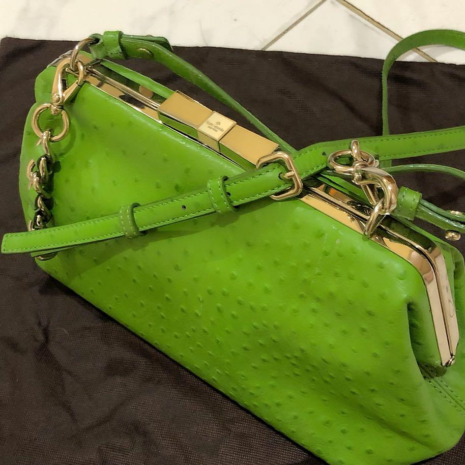 Preloved Authentic Kate Spade Victoria Falls Madeline Ostrich Leather Top handle Sling Bag Green