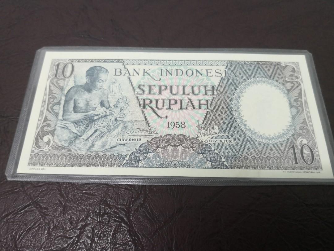 Indonesia BANKNOTE 10 Rupiah 1958 UNC