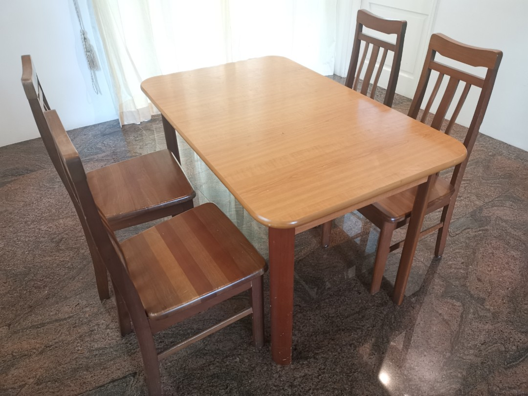 Wood Dinner Table With Four Chairs