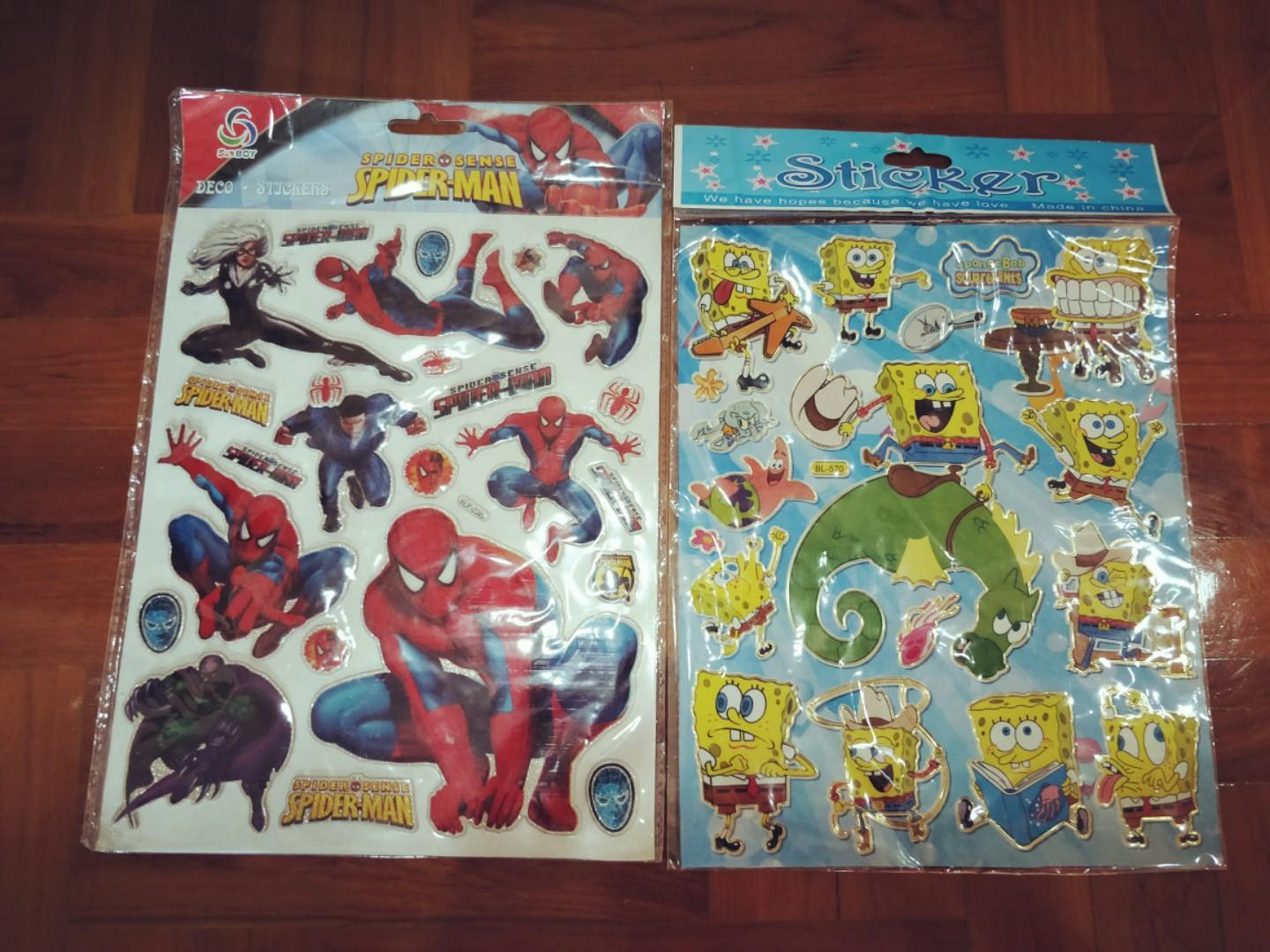 SPIDER SENSES SPIDERMAN AND SPONGEBOB STICKERS ❤