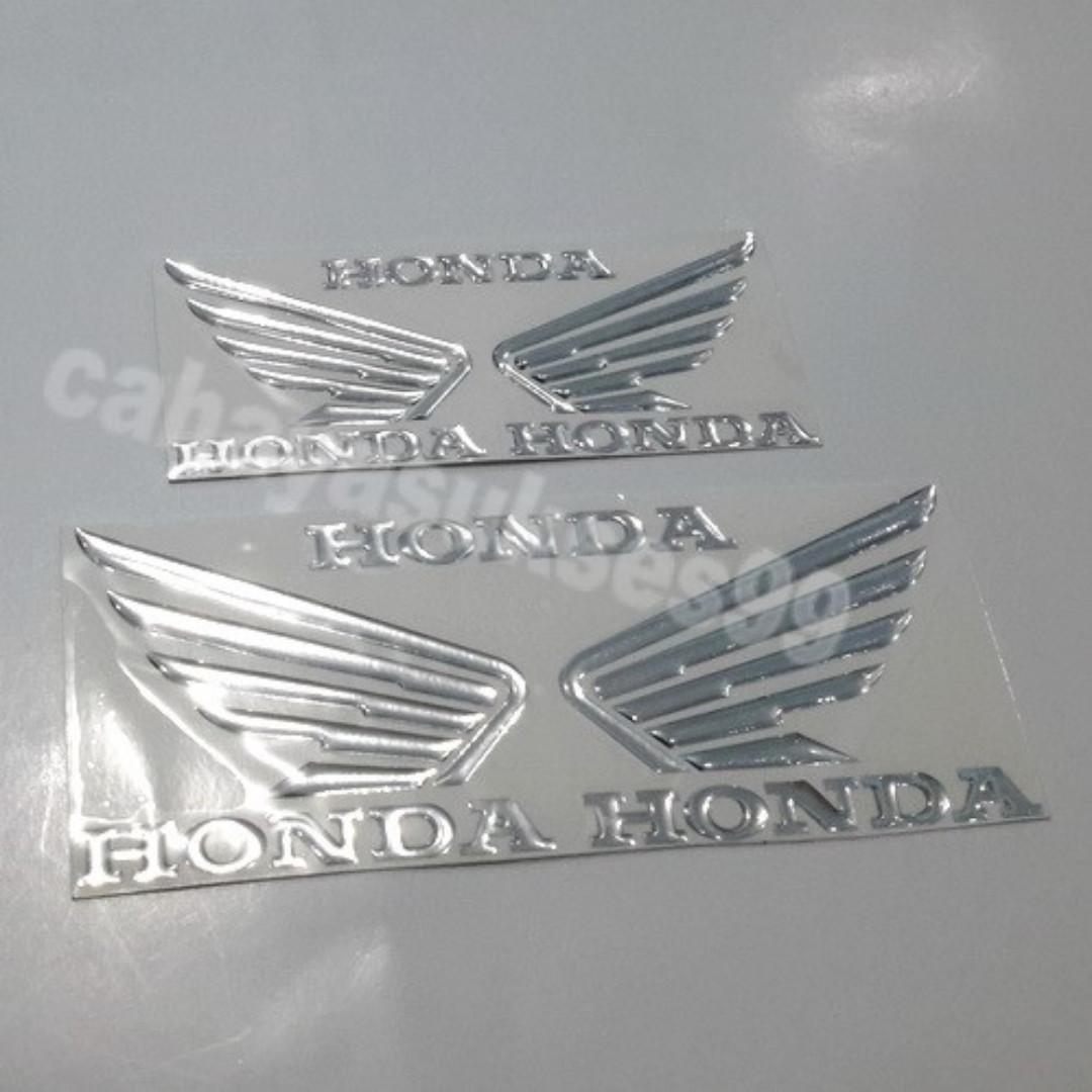 Sticker Timbul Sayap Honda Wings Ukuran Besar BONUS Size Kecil Stiker Body Motor VARIO Striping Plastik Resin Reflective PAKET 2 Set Limited Stock