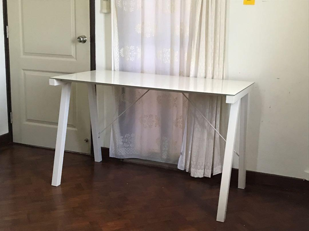 White Minimalist Study Table Steel Tempered Glass Furniture Tables Chairs On Carousell