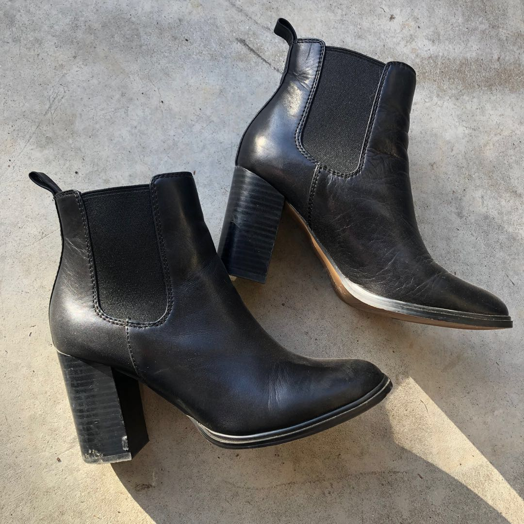 Windsor smith black leather chunky heel ankle boots size 6 worn once $199