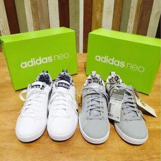 Adidas Neo × Earth 日本限定聯名款 皮革感碎花球鞋_白24.5