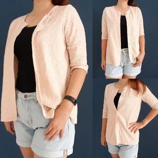 Pale Pink Flora Lace Blazer