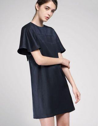 SaturdayClub Bell Sleeved Shift Dress With Tied Back in Navy