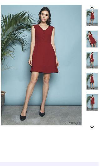 Hollyhoque Asila Buttons A-Line Dress Red