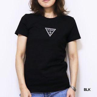 GUESS情侶款2019新款限量版 夏純色水鑽倒三角LOGO短袖T恤-YJ2K8414K