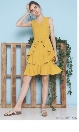 🚚 Hollyhoque Graceous Ruffles Swing Dress Sunshine