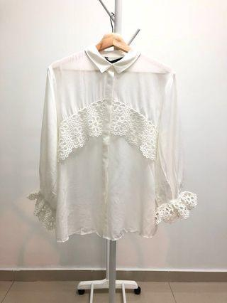 (Size XL!) LC Waikiki Lace Top with Flute Sleeves in White #Paradigm