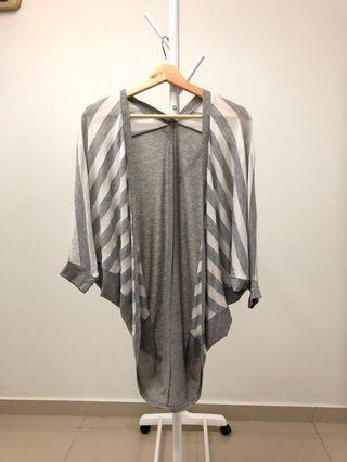 High-Low Cardigan in Grey and White Stripes #Paradigm