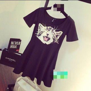 H&m連身裙 傘狀、貓咪、購於日本