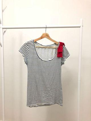 Bershka Top in Navy Blue & White Stripes with Bow Tie at Shoulder #Paradigm