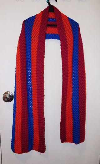 Brand New Red and Blue Striped Scarf 全球紅藍間條冷織圍巾