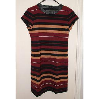 Brand New Short Sleeve Stripe Bodycon dress with Faux Leather Detail 全新短袖間條修身裙