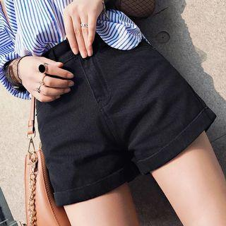 High-Waisted Shorts in Black Denim