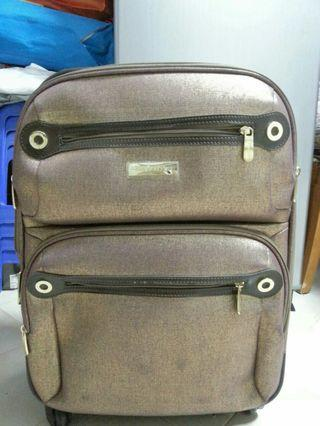 Brand New: Reduce to clear! 2 pcs Gold Colour Semi Hard Luggages