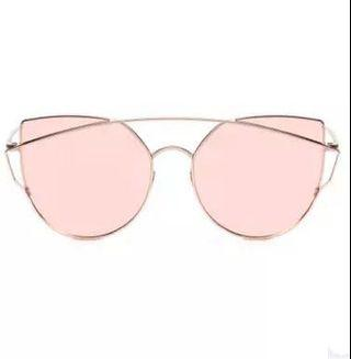 🚚 Tinted Cat-Eye Metal Trim Sunglasses in Rose