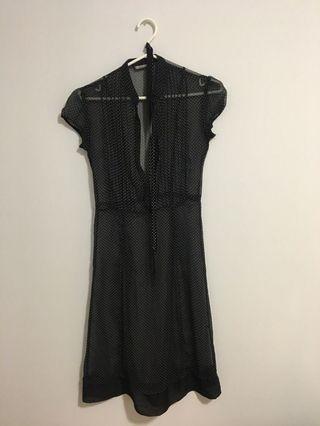 Black polka dot see through dress