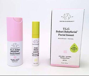 Drunk Elephant Sukari Babyfacial + Virgin marula oil