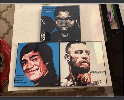 Pop Art legend bruce lee, muhammad ali and conor mcgregor